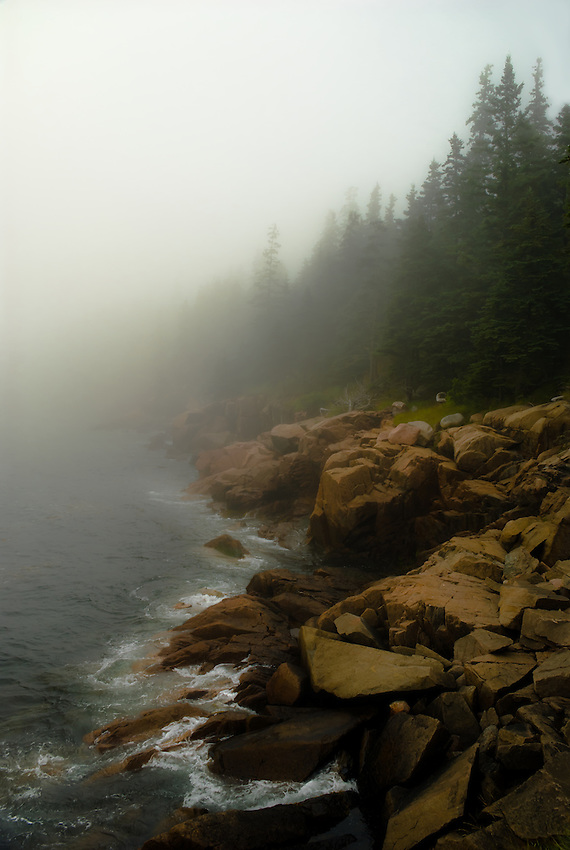 SUBJECT: Coastal scene in Acadia National Park. IMAGE: Fog and waves roll in on the rugged forested granite shores of Acadia National Park, just as dusk falls.