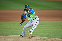 Las Ardillas Voladoras de Richmond pitcher Rodolfo Martinez (45) during an Eastern League game against the Erie Piñatas on August 28, 2019 at UPMC Park in Erie, Pennsylvania.  Richmond defeated Erie 4-3 in the second game of a doubleheader.  (Mike Janes/Four Seam Images)