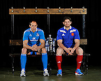 London, England.  Sergio Parisse of Italy and Pascal Pape of France pose with the Six Nations trophy during the RBS Six Nations launch at The Hurlingham Club on January 23, 2013 in London, England.