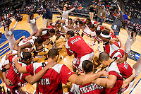 A basketball team gets pumped up during the CIAA Tournament  in Charlotte, NC.
