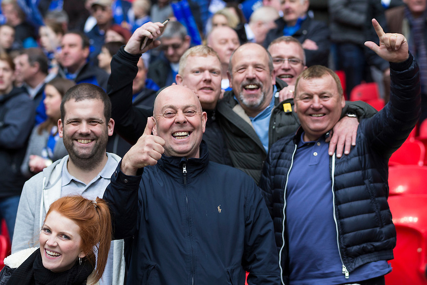 Everton fans before kick off<br /> <br /> Photographer Craig Mercer/CameraSport<br /> <br /> Football - The FA Cup Semi Final - Everton v Manchester United - Saturday 23rd April 2016 - Wembley - London<br /> <br /> &copy; CameraSport - 43 Linden Ave. Countesthorpe. Leicester. England. LE8 5PG - Tel: +44 (0) 116 277 4147 - admin@camerasport.com - www.camerasport.com