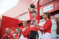 stage winner and new overall leader Tom Dumoulin (NLD/Giant-Alpecin) on the podium<br /> <br /> stage 17: Burgos-Burgos TT (38.7km)<br /> 2015 Vuelta &agrave; Espana