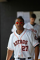 Buies Creek Astros infielder Dexture McCall (27) in the dugout during a game against the Winston-Salem Dash at Jim Perry Stadium on the campus of Campbell University on April 9, 2017 in Buies Creek, North Carolina. Buies Creek defeated Winston-Salem 2-0. (Robert Gurganus/Four Seam Images)