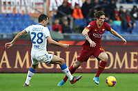 Football, Serie A: AS Roma - Brescia FC, Olympic stadium, Rome, November 24, 2019. <br /> Roma's Nicolò Zaniolo (r) in action with Brescia's Souza Romulo (l) during the Italian Serie A football match between Roma and Brescia at Olympic stadium in Rome, on November 24, 2019. <br /> UPDATE IMAGES PRESS/Isabella Bonotto