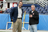 June 18th 2008:  St. Louis Cardinals General Manager John Mozeliak (L) and Rochester Red Wings General Manager Dan Mason (R) before the opening game for the Batavia Muckdogs at Dwyer Stadium in Batavia, NY.  Photo by:  Mike Janes/Four Seam Images