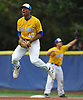Jason Diaz #40, Kellenberg starting pitcher, reacts after striking out the final batter in the Nassau-Suffolk CHSAA varsity baseball championship against St. John the Baptist at Hofstra University on Monday, May 29, 2017. A dropped third strike required the ball to be thrown to first base, which was made successfully to give Kellenberg a 1-0 win. Diaz, a sophomore, tossed a shutout.