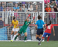 Moncton, New Brunswick - June 17, 2015: In a FIFA Women's World Cup Canada 2015 Group E match, Brazil (yellow/white) defeated Costa Rica (red/blue), 1-0, at Moncton Stadium.