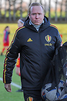 20191204 - TUBEKE , BELGIUM : Belgian Team manager Bram Demeur pictured during the international friendly female soccer game between the Belgian Flames U15 and Germany , Wednesday 4 th December 2019 at the Belgian Football Centre, Tubeke / Tubize , Belgium. PHOTO SPORTPIX.BE | STIJN AUDOOREN