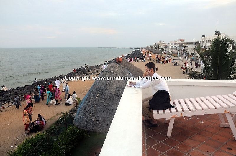 A view from Le Cafe in Pondicherry. This was the first French Port in Pondicherry now a coffee shop by the beach. Arindam Mukherjee/Sipa