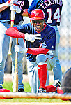 1 March 2010: Washington Nationals' center fielder Nyjer Morgan watches batters from outside the batting cage during Spring Training at the Carl Barger Baseball Complex in Viera, Florida. Mandatory Credit: Ed Wolfstein Photo