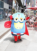 NEW YORK, NY - JUNE 21: Costumed character soliciting outside of the green zone on the first day of NYPD (New York Police Department) enforcement of the new pedestrian zones in Times Square where costumed characters and those selling bus or show tickets are required to solicit only in the designated green zone in New York, New York on June 21, 2016.  Photo Credit: Rainmaker Photo/MediaPunch