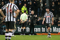 Notts County Manager John Sheridan is given a talking to from the Referee and sent off during the Sky Bet League 2 match between Notts County and Wycombe Wanderers at Meadow Lane, Nottingham, England on 10 December 2016. Photo by Andy Rowland.