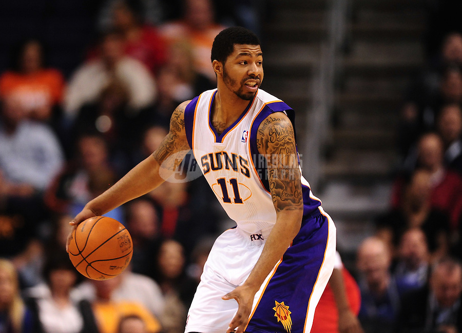 Dec. 28, 2011; Phoenix, AZ, USA; Phoenix Suns forward Markieff Morris during game against the Philadelphia 76ers at the US Airways Center. The 76ers defeated the Suns 103-83. Mandatory Credit: Mark J. Rebilas-USA TODAY Sports