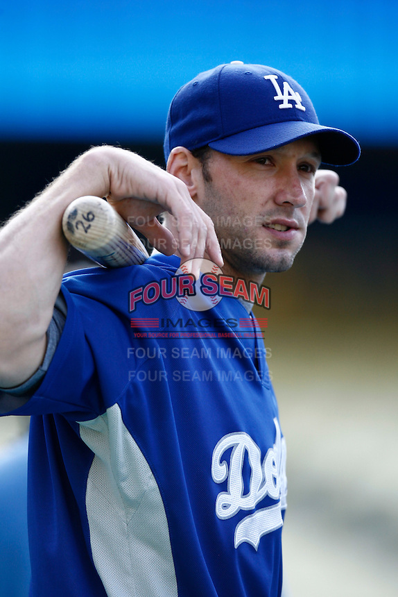 Brady Clark of the Los Angeles Dodgers during batting practice before a 2007 MLB season game at Dodger Stadium in Los Angeles, California. (Larry Goren/Four Seam Images)