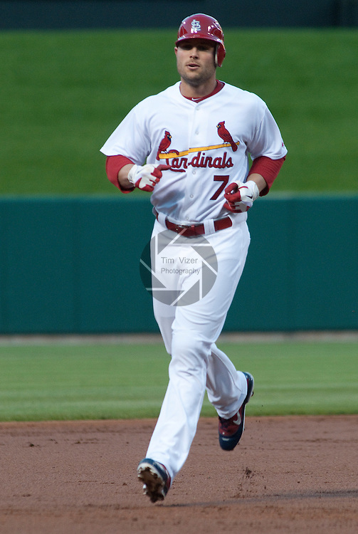 03 May 2011                              St. Louis Cardinals left fielder Matt Holliday (7) rounds the bases after his two-run home run in the first inning. The St. Louis Cardinals hosted the Florida Marlins on Tuesday May 3, 2011 in the second game of a four-game series at Busch Stadium in downtown St. Louis.