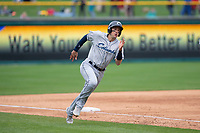 Columbus Clippers shortstop Ryan Flaherty (15) rounds third base during an International League game against the Indianapolis Indians on April 30, 2019 at Victory Field in Indianapolis, Indiana. Columbus defeated Indianapolis 7-6. (Zachary Lucy/Four Seam Images)