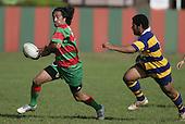 T Kiel tries to go around S. Feloko. Counties Manukau Premier Club Rugby, Waiuku vs Patumahoe played at Rugby Park, Waiuku on the 8th of April 2006. Waiuku won 18 - 15