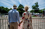 June 8, 2019 : A couple overlooks the paddock on Belmont Stakes Festival Saturday at Belmont Park in Elmont, New York. Scott Serio/Eclipse Sportswire/CSM