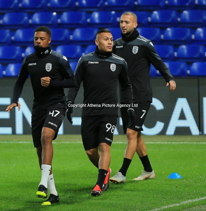 Chuba Akpom, Léo Jaba and Omar El Kaddouri of PAOK during training and press conference at Stamford Bridge, London