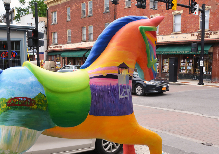 "A view of ""15"", one of the 35 Artist painted Rocking Horses on display around Saugerties, NY as part of the Chamber of Commerce sponsored Art in the Village Project titled ""Rockin' Around Saugerties."" This photo taken on Friday, May 26, 2017. Photo by Jim Peppler. Copyright/Jim Peppler-2017."