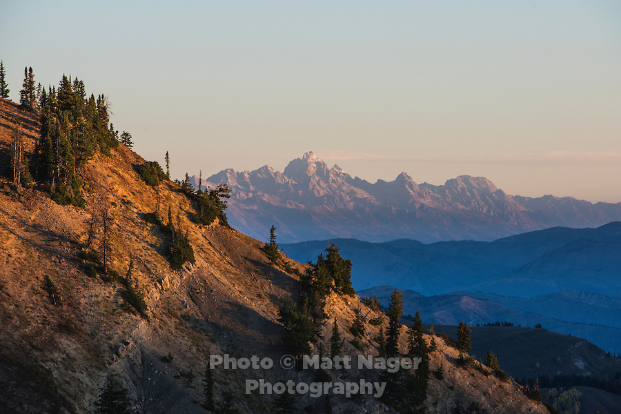 Greyback Ridge in the Hoeback Drainage of Wyoming Region H, with Teton National Park in the background in Wyoming, September 23, 2015.<br /> <br /> Photo by Matt Nager