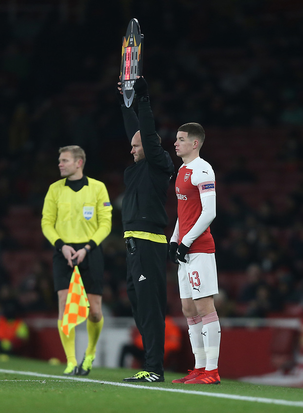 Arsenal's Charlie Gilmour prepares to come on as a substitute<br /> <br /> Photographer Rob Newell/CameraSport<br /> <br /> UEFA Europa League Group E - Arsenal v FK Qarabag - Thursday 13th December 2018 - Emirates Stadium - London<br />  <br /> World Copyright © 2018 CameraSport. All rights reserved. 43 Linden Ave. Countesthorpe. Leicester. England. LE8 5PG - Tel: +44 (0) 116 277 4147 - admin@camerasport.com - www.camerasport.com