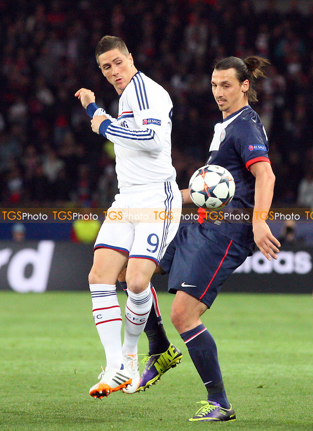 Fernando Torres  of Chelsea and Zlatan Ibrahimovic of Paris St-Germain - Paris St Germain vs Chelsea, Champions League Quarter Final Football at the Parc Des Princes Stadium - 02/04/14 - MANDATORY CREDIT: Dave Simpson/TGSPHOTO - Self billing applies where appropriate - 0845 094 6026 - contact@tgsphoto.co.uk - NO UNPAID USE