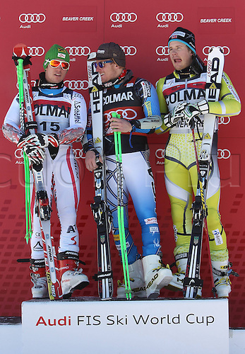 06.12.2011. Beaver Creek, USA. Ski Alpine FIS World Cup Giant slalom the men Award Ceremony Picture shows Marcel Hirscher AUT Ted Ligety USA and Kjetil Jansrud NOR