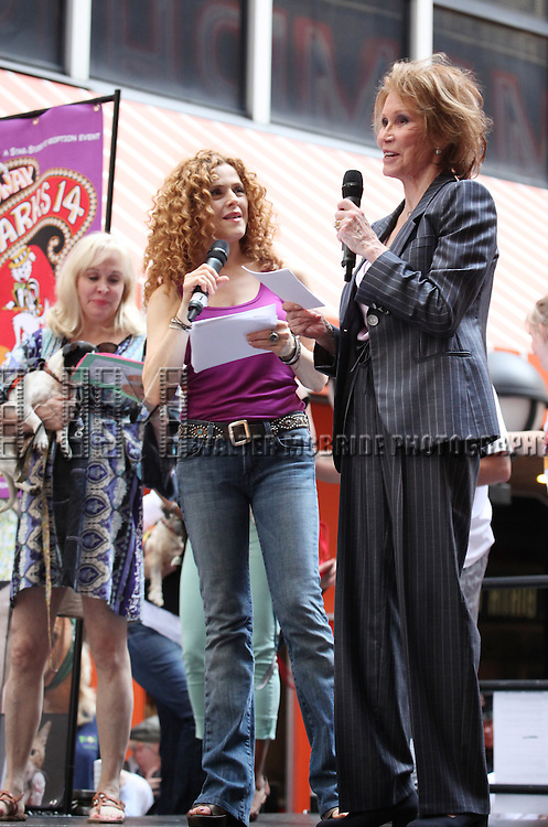 Nancy Opel, Bernadette Peters & Mary Tyler Moore .onstage at Broadway Barks 14 at the Booth Theatre on July 14, 2012 in New York City. Marking its 14th anniversary, Broadway Barks!, founded by Bernadette Peters and Mary Tyler Moore helps many of New York City's shelter animals find permanent homes and also inform New Yorkers about the plight of the thousands of homeless dogs and cats in the metropolitan area.