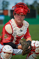 Batavia Muckdogs catcher Keegan Fish (6) poses for a photo before a game against the Auburn Doubledays on September 2, 2018 at Dwyer Stadium in Batavia, New York.  Batavia defeated Auburn 5-4.  (Mike Janes/Four Seam Images)