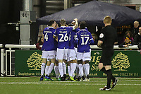 Oldham players celebrate their second goal during Maidstone United vs Oldham Athletic, Emirates FA Cup Football at the Gallagher Stadium on 1st December 2018