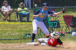 TORRINGTON, CT - 04 JULY 2020 - 070420JW01.jpg --  Torrington Little League Reds #1 Colt Marola slides safely to 3rd as Brewers #9 Damien Webb misses the ball during opening day of play at Torrington Middle school's Colangelo Fields Saturday afternoon. Jonathan Wilcox Republican-American