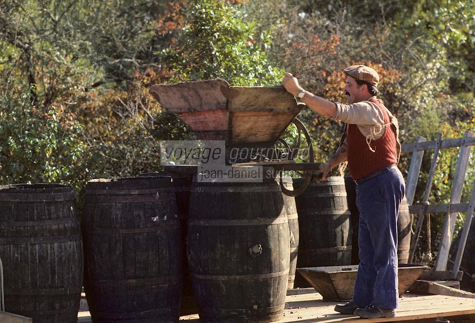Europe/France/Midi-Pyrénées/46/Lot/Env. d'Esclauzels: Vignoble de Cahors - Pressoir manuel lors des vendanges [Non destiné à un usage publicitaire - Not intended for an advertising use]<br /> PHOTO D'ARCHIVES // ARCHIVAL IMAGES<br /> FRANCE 1980
