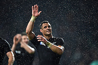Dan Carter of New Zealand waves to the crowd after the match. Rugby World Cup Semi Final between South Africa and New Zealand on October 24, 2015 at Twickenham Stadium in London, England. Photo by: Patrick Khachfe / Onside Images
