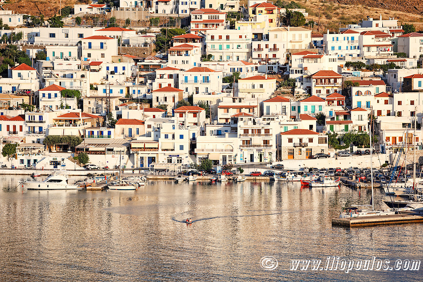 The picturesque village of Batsi in Andros, Greece