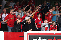 Wrexham fans enjoy their afternoon during Dagenham & Redbridge vs Wrexham, Vanarama National League Football at the Chigwell Construction Stadium on 13th October 2018