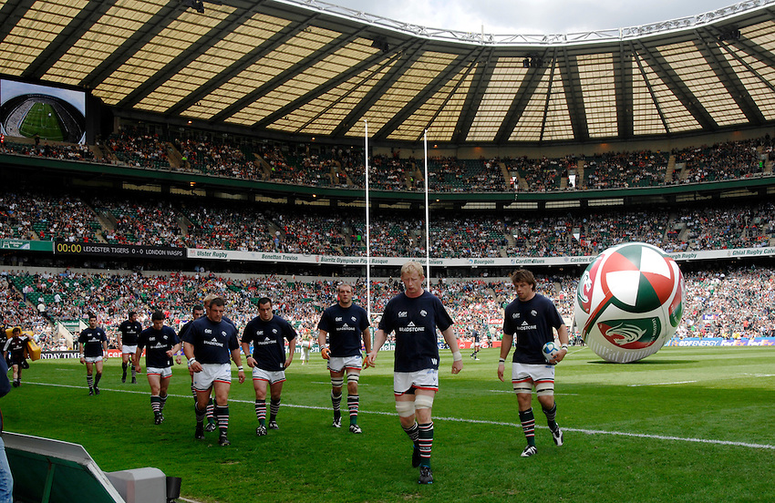 Photo: Richard Lane..London Wasps v Leicester Tigers. Heineken Cup Final. 20/05/2007..Leicester players leave the field after the warm up.