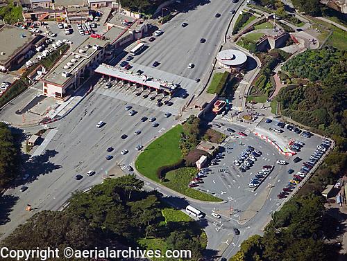 aerial photograph Golden Gate bridge toll plaza, San Francisco, California