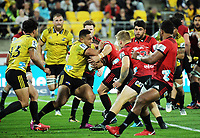Ngani Laumape in action during the Super Rugby match between the Hurricanes and Crusaders at Westpac Stadium in Wellington, New Zealand on Saturday, 10 March 2018. Photo: Dave Lintott / lintottphoto.co.nz