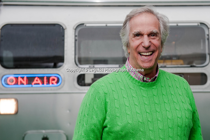 Thursday 22 May 2014 <br /> Pictured: Henry Winkler in front of an Airstream   caravan converted to be used as a radio studio at the Hay Festival <br /> Re: Hay Festival takes place at Hay on Wye, Powys, Wales