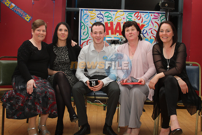 Martin Beirne with Mamie Kevitt, Audrey Davis, Caroline Beirne and Elizabeth Gray at his 21st in the Thatch...(Photo credit should read Jenny Matthews/www.newsfile.ie)....This Picture has been sent you under the conditions enclosed by:.Newsfile Ltd..The Studio,.Millmount Abbey,.Drogheda,.Co Meath..Ireland..Tel: +353(0)41-9871240.Fax: +353(0)41-9871260.GSM: +353(0)86-2500958.email: pictures@newsfile.ie.www.newsfile.ie.