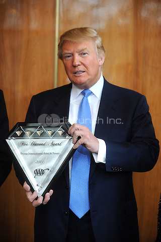 Donald Trump is awarded the AAA Five-Diamond Award for his Trump International Hotel & Tower  in New York City. March 31, 2011. © MPI01 / MediaPunch Inc.