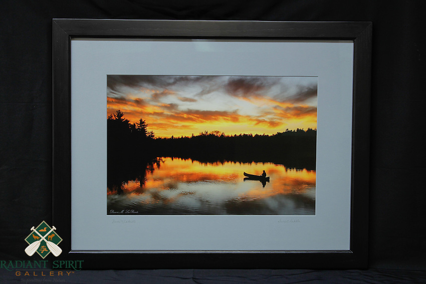 """Sunset Paddle"", hand-made oak frame with black finish, conservation grade matting, TruVue Museum Glass. Contact us for availability."