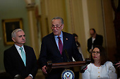 United States Senate Minority Leader Chuck Schumer (Democrat of New York), joined by United States Senator Jack Reed (Democrat of Rhode Island) and United States Senator Tammy Duckworth (Democrat of Illinois), speaks during the Senate Policy Luncheon Press Conference on Capitol Hill in Washington D.C., U.S. on October 22, 2019.<br /> <br /> Credit: Stefani Reynolds / CNP