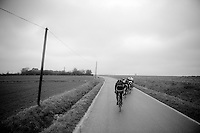 the peloton is decimated; scattered in many echelons across the course, due to extreme winds (up to 80km/h)<br /> <br /> 77th Gent-Wevelgem 2015