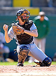 24 April 2007: Dartmouth College Big Green catcher Kyle Evans, a Sophomore from Springfield, MO, in action against the University of Vermont Catamounts at Historic Centennial Field, in Burlington, Vermont...Mandatory Photo Credit: Ed Wolfstein Photo