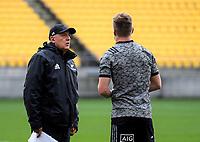 Gilbert Enoka and Jordie Barrett. All Blacks training at Westpac Stadium in Wellington, New Zealand on Thursday, 14 June 2018. Photo: Dave Lintott / lintottphoto.co.nz