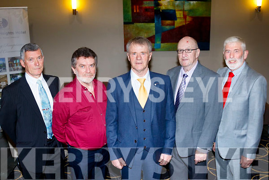Pictured at their retirement from C.I.E, now Bús Eireann, last Saturday night in the Ballyroe Hts hotel, Tralee were L-R Mike Griffin, Castlegregory, 30yrs service, Willie Murphy, Abbeyfeale, 15yrs, Frank Donlon, Ballymac, 45yrs, Maurice O'Brien, Tralee, 15yrs and Sean O'Connor, Ballyduff, 27yrs.