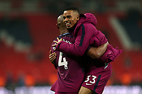 Gabriel Jesus and Vincent Kompany of Manchester City after Tottenham Hotspur vs Manchester City, Premier League Football at Wembley Stadium on 14th April 2018