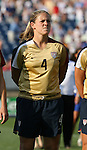14 July 2007: United States' Cat Whitehill, wearing the brand new gold U.S. Womens World Cup jersey. The United States Women's National Team defeated their counterparts from Norway 1-0 at Rentschler Stadium in East Hartford, Connecticut in a women's international friendly soccer game.